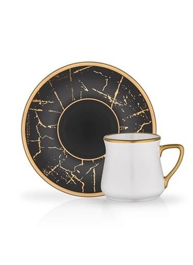 Glore Türk Kahvesi Set 6'Lı Siyah Mermer Mat Altın Renkli